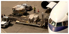 loading boeing jet with cargo